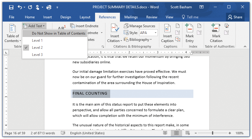In Easy Steps How to create a Table of Contents in Word 2016