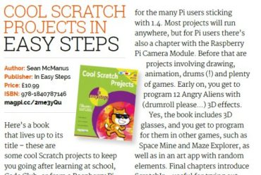 5* review of Cool Scratch Projects in easy steps from The MagPi magazine